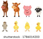 Set Of Farm Animals Front View. ...