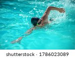 Movement In Water. Man In Black ...