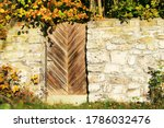 Old Wooden Gate In Stone Wall ...