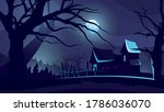 halloween background with house ... | Shutterstock .eps vector #1786036070