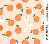seamless of orange with green... | Shutterstock .eps vector #1786075019