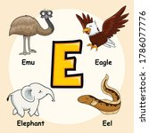 Cute Animals Alphabet Letter E...