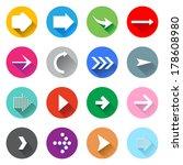 arrow icons set. flat design | Shutterstock .eps vector #178608980