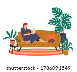 girl with notebook on the couch.... | Shutterstock .eps vector #1786091549