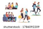 female friends spending time... | Shutterstock .eps vector #1786092209
