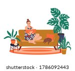 girl reading a book at home.... | Shutterstock .eps vector #1786092443