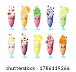 vector set of milkshakes of... | Shutterstock .eps vector #1786119266