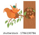 Cute Squirrel With Acorn With...