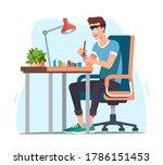 young man enjoying miniature... | Shutterstock .eps vector #1786151453