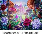 fantastic landscape with... | Shutterstock .eps vector #1786181309