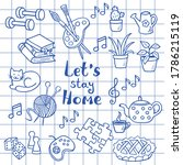 a set of hand drawn doodle home ... | Shutterstock .eps vector #1786215119