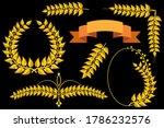 set of gold laurel wreath  oval ... | Shutterstock .eps vector #1786232576