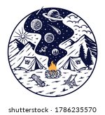 camping with the fire of the...   Shutterstock .eps vector #1786235570