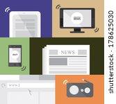 media flat icons  radio  tv ... | Shutterstock .eps vector #178625030