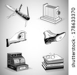 vintage icons in woodcut style. ... | Shutterstock .eps vector #178633370