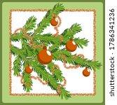 christmas postcard with fir...   Shutterstock .eps vector #1786341236