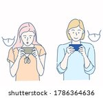 woman play mobile game on... | Shutterstock .eps vector #1786364636