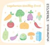 vegetarian healthy food cute... | Shutterstock .eps vector #1786367213