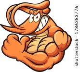 strong cartoon shrimp mascot... | Shutterstock .eps vector #1786383776