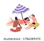 cartoon people sunbathing on... | Shutterstock .eps vector #1786389470