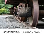 Axel bearing boxes on old rail-car.