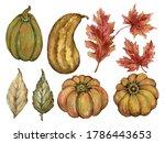 Watercolor Gouache Autumn Fall...