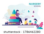 children playing with cubes in... | Shutterstock .eps vector #1786462280