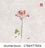 lotus flower  gingko leaf and... | Shutterstock .eps vector #1786477856
