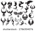 set of phoenix bird silhouettes.... | Shutterstock .eps vector #1786504076