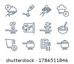 cooking related vector line...