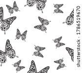 butterfly contour seamless... | Shutterstock .eps vector #1786519670