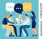 brainstorming. people sitting... | Shutterstock .eps vector #1786521539
