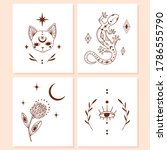 doodle mystic set of 4 vector... | Shutterstock .eps vector #1786555790