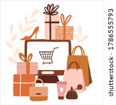 online shopping concept.... | Shutterstock .eps vector #1786555793