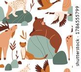 cute forest animals seamless...   Shutterstock .eps vector #1786555799