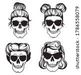set of female skulls.... | Shutterstock .eps vector #1786558079