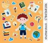 stickers school with boy in... | Shutterstock .eps vector #1786568186