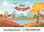 Autumn Landscape With Cute...
