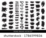 big collection of black paint ... | Shutterstock .eps vector #1786599836