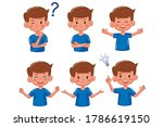 kid boy with different emotions.... | Shutterstock .eps vector #1786619150
