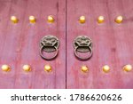 Red Chinese Wooden Door With...