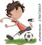 cartoon boy playing soccer....   Shutterstock .eps vector #1786720019