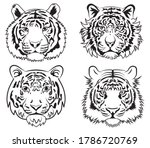 Set Of Tiger Face. Collection...