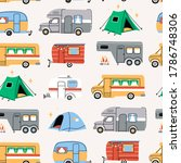 colorful campers rv and tents.... | Shutterstock .eps vector #1786748306