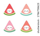 cute watermelon fruit kawaii... | Shutterstock .eps vector #1786758623