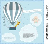 baby shower card  for baby boy... | Shutterstock .eps vector #178678244