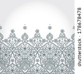 Vintage seamless border with lacy ornament. Floral frieze in east style. It can be used for decorating of wedding invitations, greeting cards, decoration for bags and clothing.