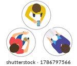 social distancing  men stand in ... | Shutterstock .eps vector #1786797566