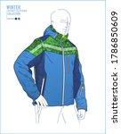 men mountain waterproof ski...   Shutterstock .eps vector #1786850609