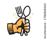 fork and spoon in hand symbol.... | Shutterstock .eps vector #1786868363